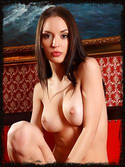 Silky dark haired beauty struts her naked body and shows her medium breasts for squeezing or other things.
