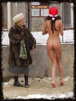 Sneaking out of Santa's workshop is this perfect model elf with petite breasts and perky ass.