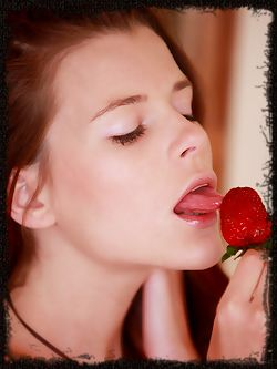 Valeria A enjoys strawberries and shows off her hot body
