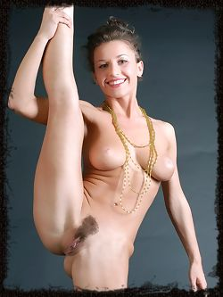 Albina has flexible legs and she can contort her body in most unusual ways, showing her wonderful pussy in the best light.