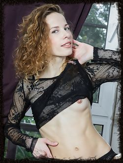 Dennie makes a sultry debut in black sheer top and mesh panties that shows off her perfect curves, especially her round perky butt.