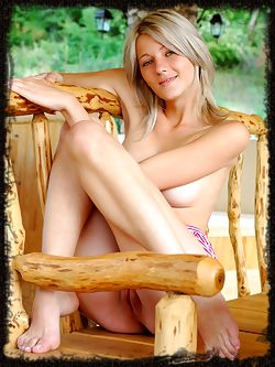 Going outdoors with this slender girl who loves to relax on the porch sip Ice tea and play naked games.